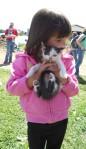MOMS Club of Uniontown Ohio picture, Miller's Farm tour, child cradling small kitten.