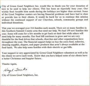 Green Good Neighbors Thank You Letter